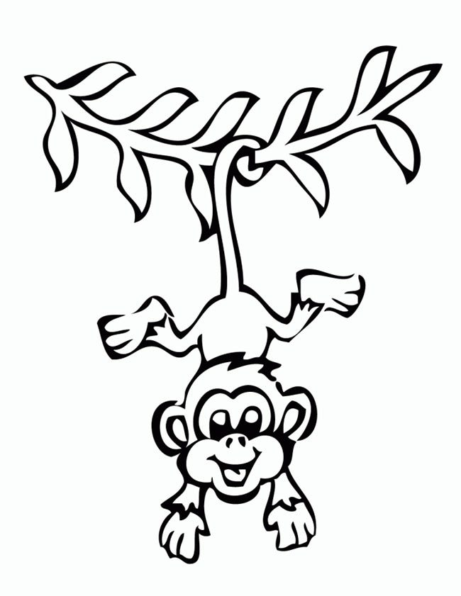 Monkey template animal templates free premium templates for Coloring pages of monkey