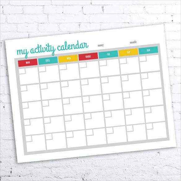 monthly activity blank calendar printable1