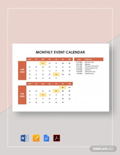 monthly event calendar template