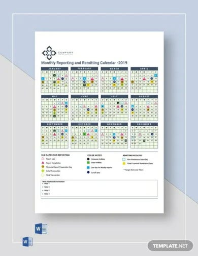monthly reporting remitting calendar template