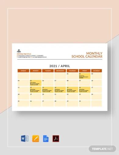 monthly school calendar template