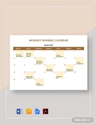 monthly training calendar template