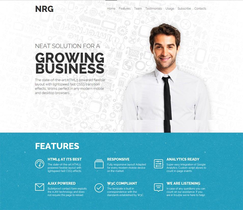 nrg responsive landing page