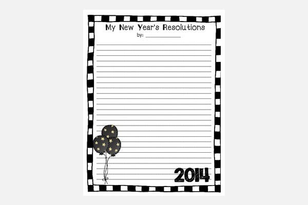 new years stationary template