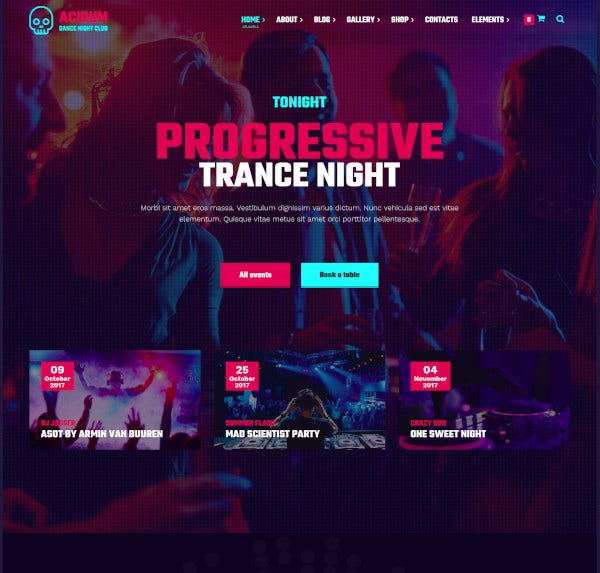 night club and dj wordpress theme