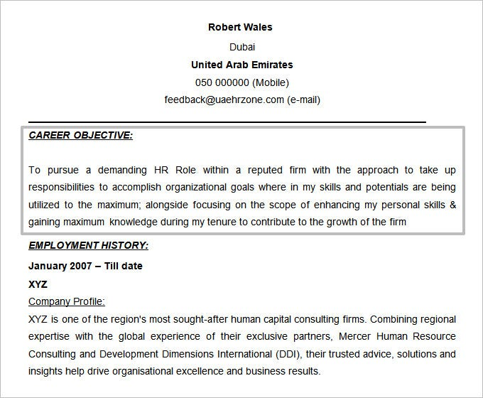 free doc objective for hr resume template - Hr Resume Objectives