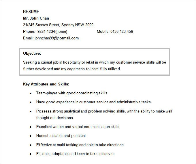 Free Objective For Hospitality Resume Doc Template  Objective On Resume For Retail