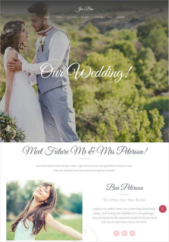 one page wedding blog wordpress theme