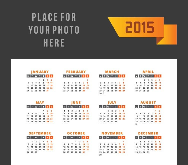 orange ribbon with 2015 text black header vector calendar template