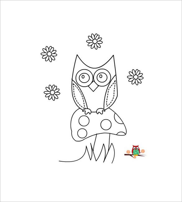 owl template line art