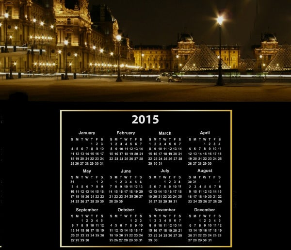 paris at night with 2015 calendar on poster