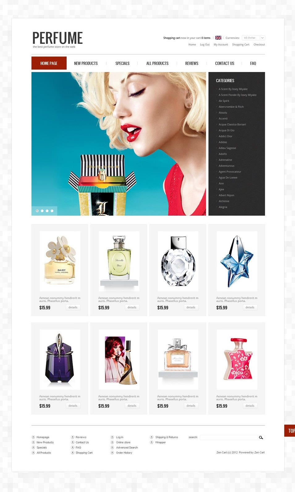 Perfumes to Smell Sweet ZenCart Template