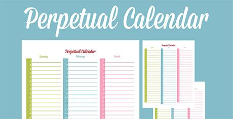 Perpetual Calendar - Calendar Template