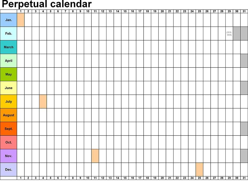 perpetual calendar horizontally linear