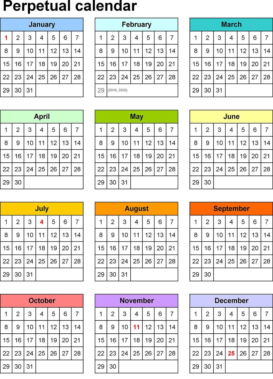 Pics Photos - Perpetual Calendar