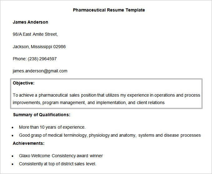 Free Doc Format Pharmaceutical Resume Objective Template  Resume Objectives For Sales