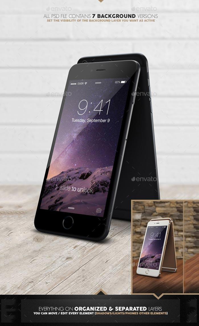 phone 6 realistic mockup pack