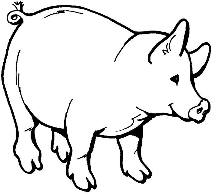 Pig template animal templates free premium templates for Farm animal coloring pages