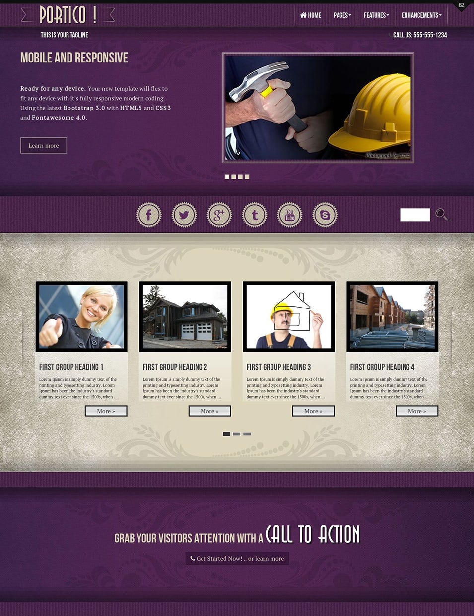 Portico HD Construction Wordpress Theme