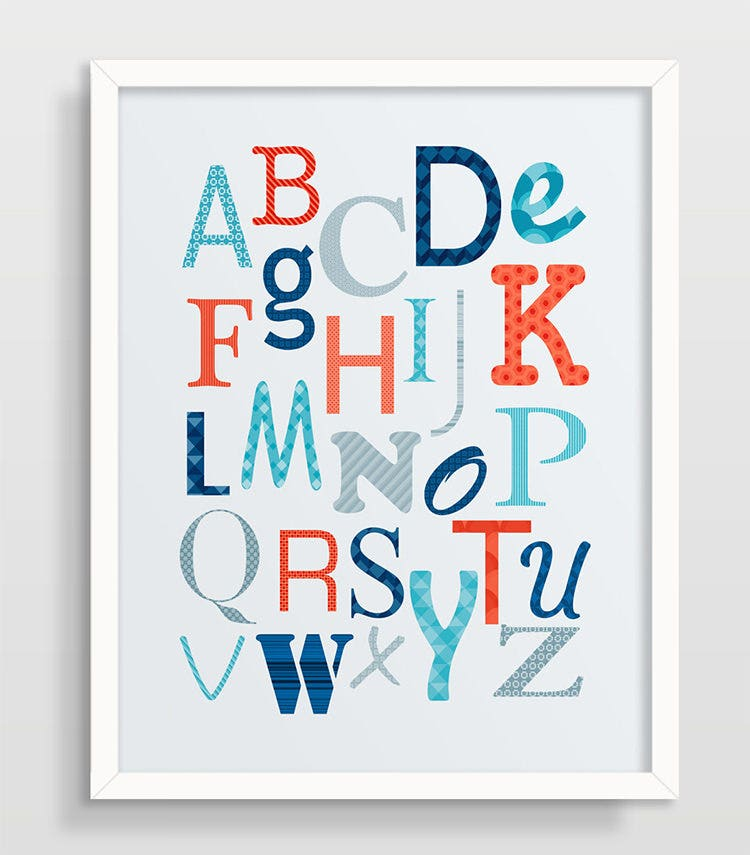 Playful image within printable poster letters