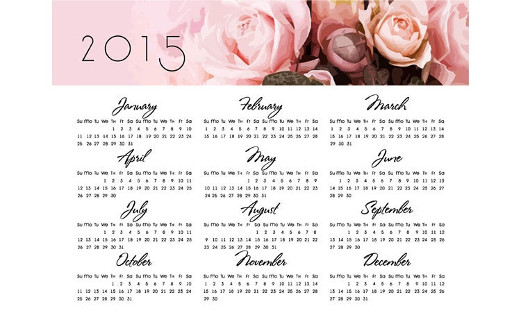 printable wall calendar 2015 with roses
