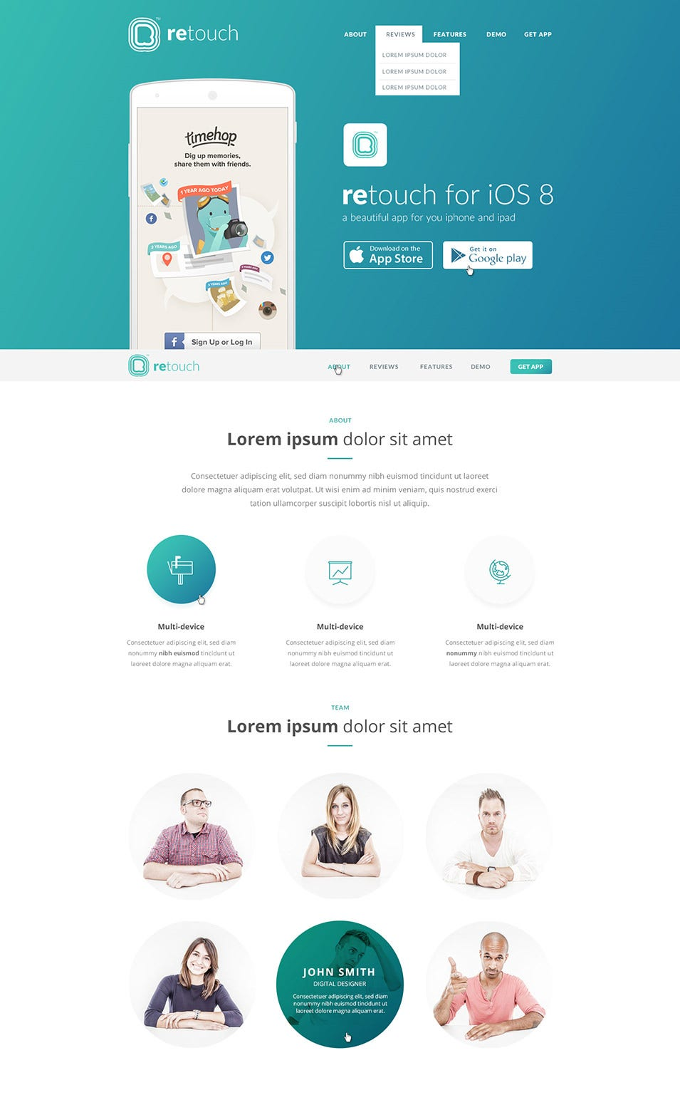 retouch app psd template