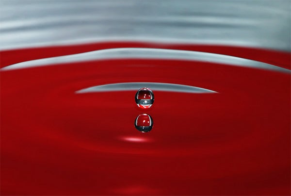 red water drop photography