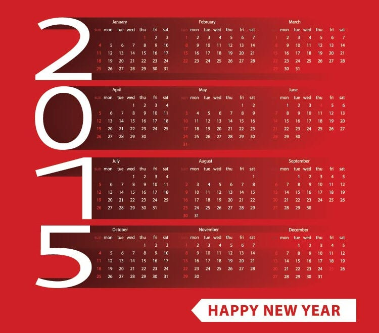 red shadow background happy new year 2015 vector calendar template