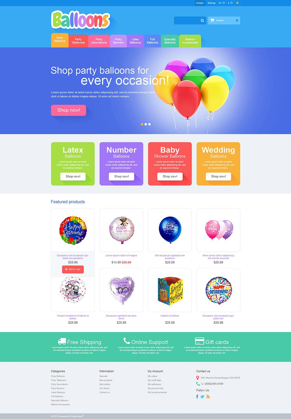 Responsive Balloons Store Presta Shop Theme