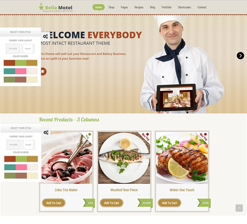 restaurant bakery wordpress theme