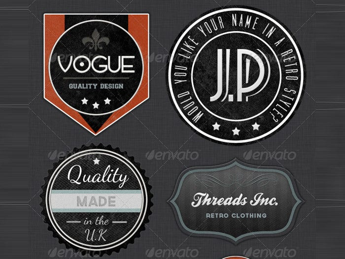 retro badges