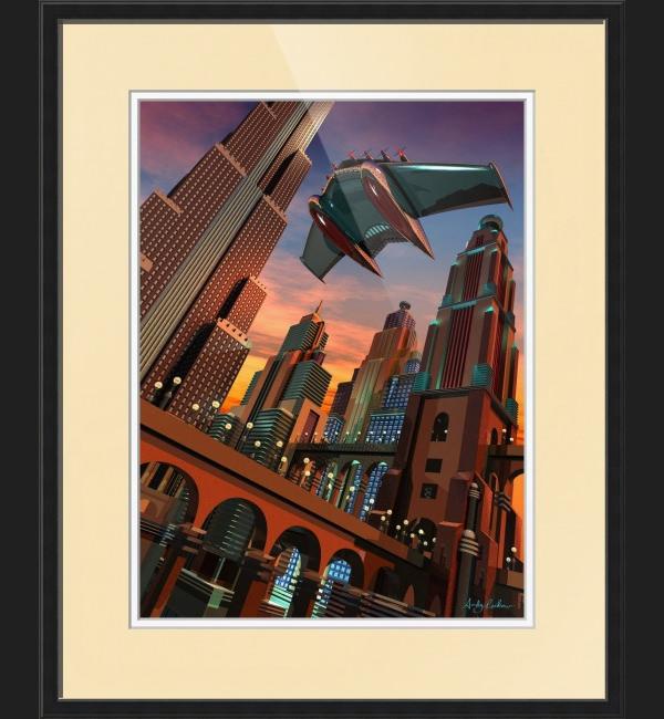 retro futuristic fantasy cityscape