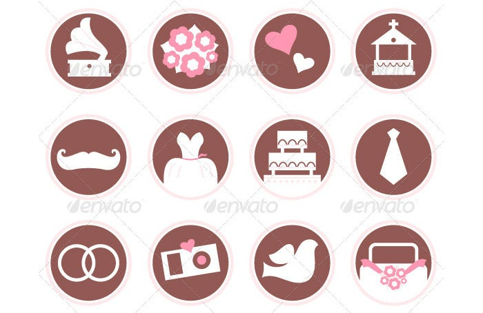 Retro Wedding Design Elements and Icons