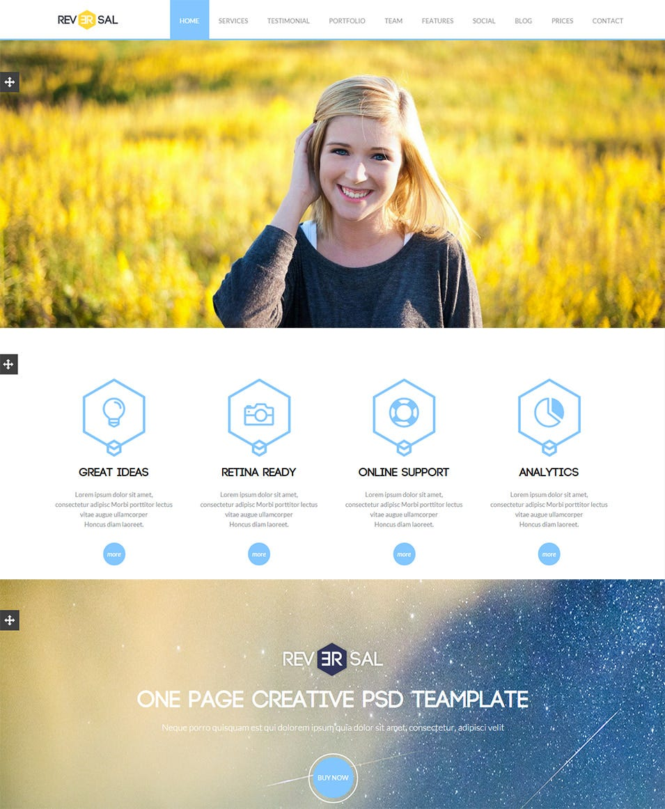reversal parallax one page drupal theme