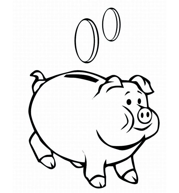 round pig coloring page