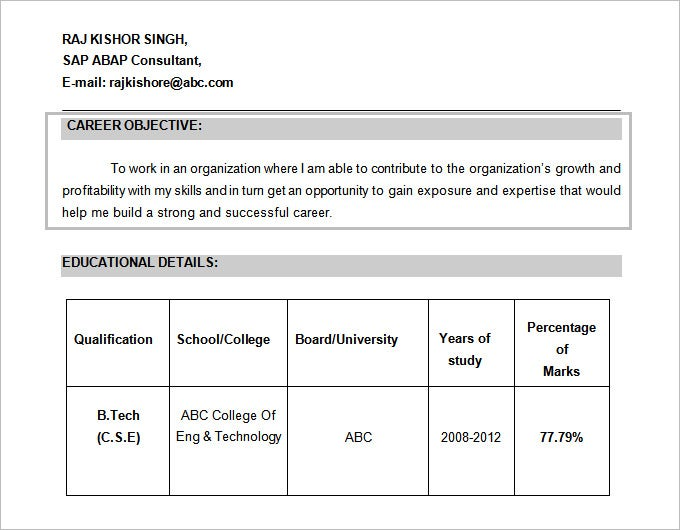 resume format free download doc template cv microsoft word sap objective for mba fresher