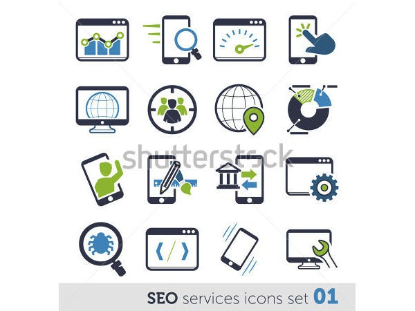 seo services icons set