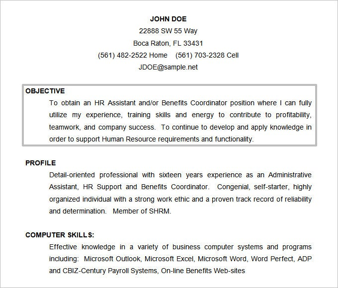Nice Resume Sample With Objective
