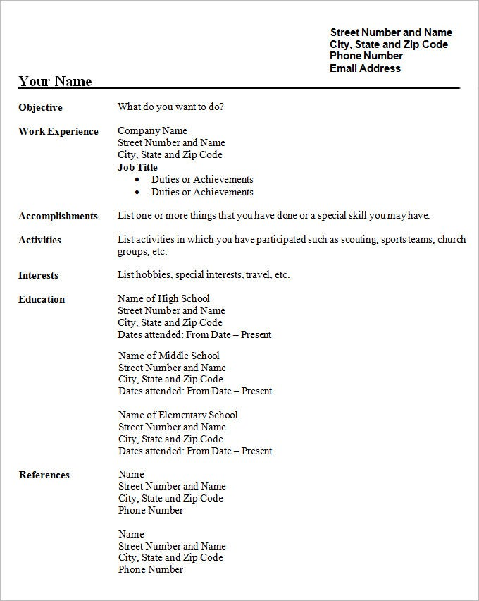 sample cv student resume template free download