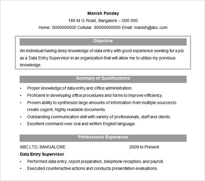 High Quality Free Data Entry Supervisor Resume Objective Template Doc Format