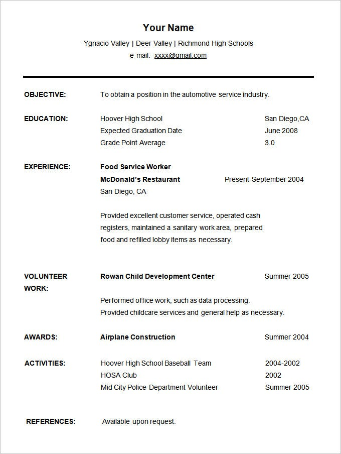 Sample High School Student Resume CV Template