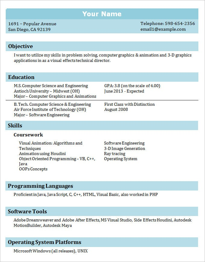 sample it professional student resume template free download