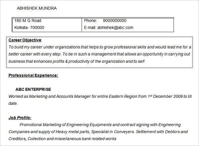 Marketing Accounts Manager Resume Objective Template