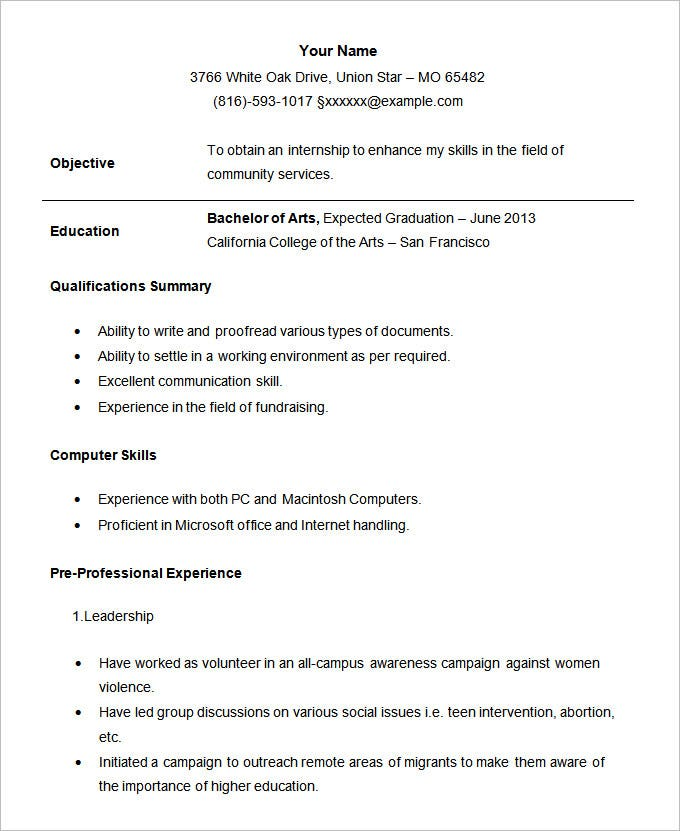 cv format for summer internship