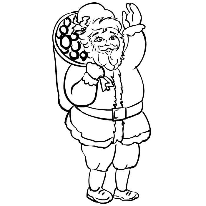 santa claus holding gifts coloring page