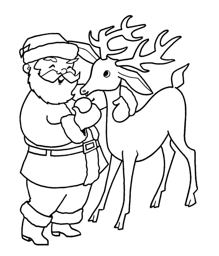 santa claus with reindeer template