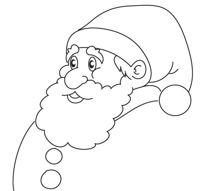 santa head coloring page for kids