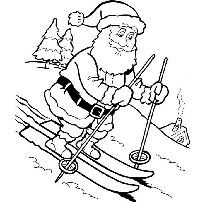 santa in boat coloring page