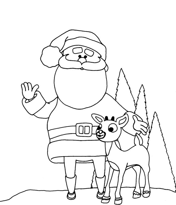 santa with rein deer coloring page