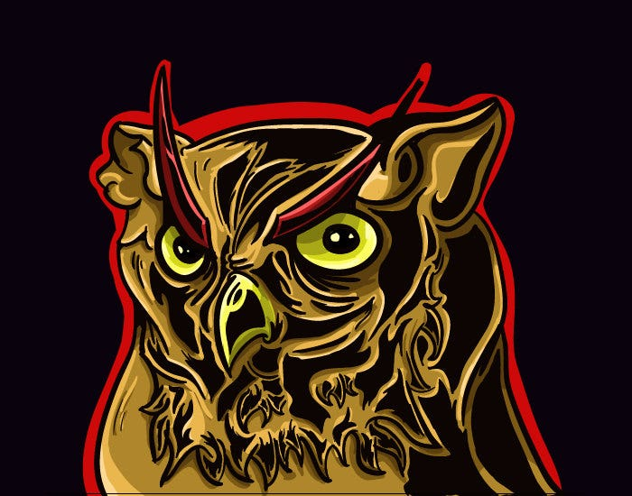 scary owl illustration